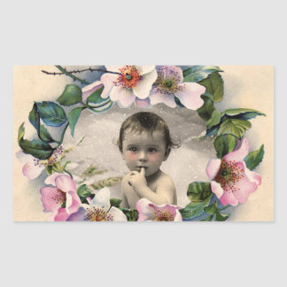 FLORAL CROWN,WILD ROSES BABY SHOWER PHOTO TEMPLATE RECTANGULAR STICKER