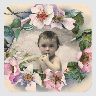 FLORAL CROWN,WILD ROSES BABY SHOWER PHOTO TEMPLATE SQUARE STICKER