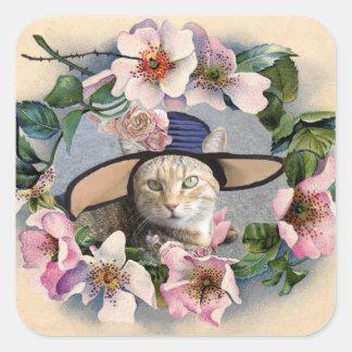 FLORAL CROWN,WILD ROSES TATUS CAT PHOTO TEMPLATE SQUARE STICKER