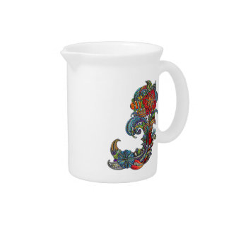 Floral Curls Abstract Modern Art Beverage Pitchers