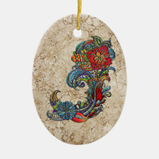 Floral Curls Abstract Modern Art Double-Sided Oval Ceramic Christmas Ornament
