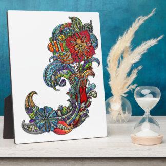 Floral Curls Abstract Modern Art Plaque