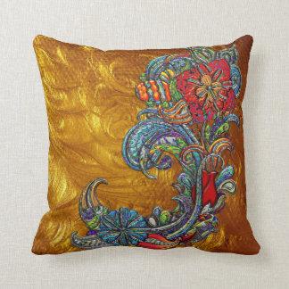 Floral Curls Abstract Modern Art Throw Pillow