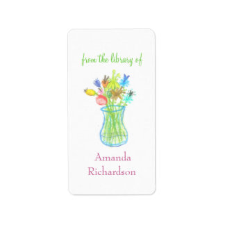 Floral custom bookplates / personalized bookplates custom address label