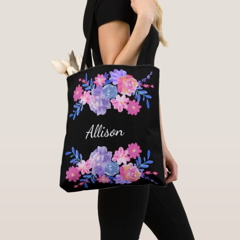 Floral Custom Monogram Tote Bag