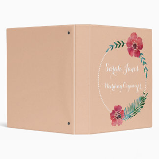Floral Custom Text Button Garden Wedding Organizer Binder