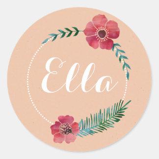 Floral Custom Text Sticker