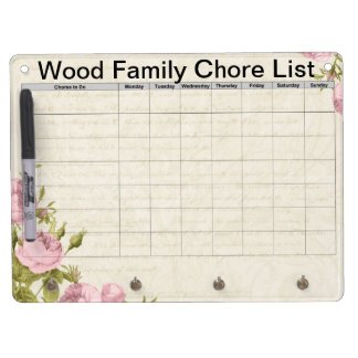 Floral customized family chore list Dry-Erase whiteboard