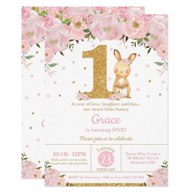 Floral Cute Bunny Rabbit Girl 1st Birthday Party Invitation