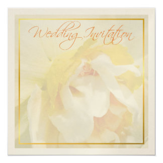 """Floral daffodil wedding invitation 5.25"""" square invitation card"""