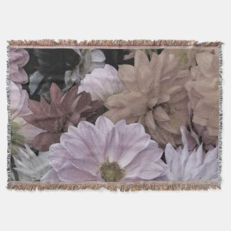 Floral Dahlia Garden Flowers Throw Blanket