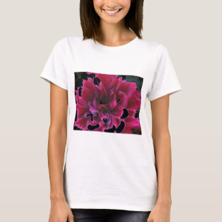 Floral dahlia in deep reds accented in black T-Shirt