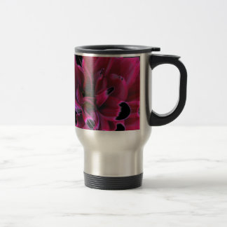 Floral dahlia in deep reds accented in black travel mug
