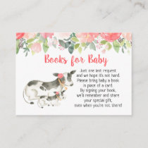 Floral Dairy Cow Baby Shower Book Request Cards
