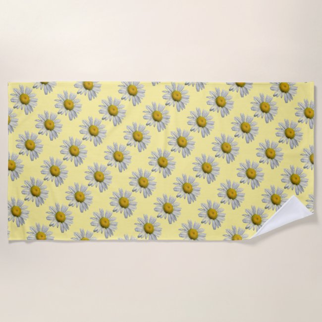 Floral Daisy Garden Flowers Yellow Beach Towel