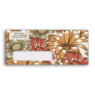 Floral Daisy Pattern, Sage/Cinnamon Envelope