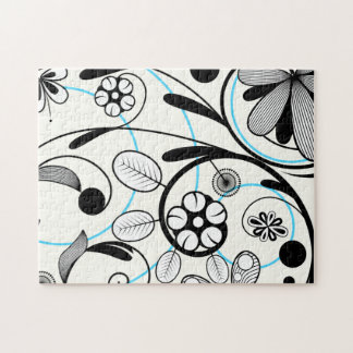 Floral Damask black blue white Jigsaw Puzzle