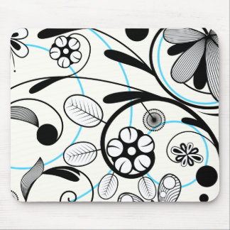 Floral Damask black blue white Mouse Pad
