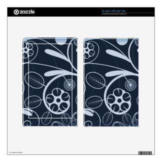 Floral Damask blue Decal For Kindle Fire