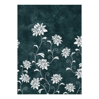 Floral damask blue & white flowers girly chic poster