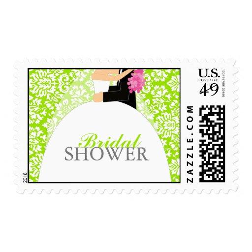 Floral Damask Bridal Shower Postage Stamp