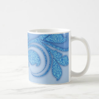 Floral Damask Flourish Blue Glitter Embellishment Coffee Mug