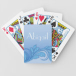 Floral Damask Flourish Blue Glitter Embellishment Card Decks