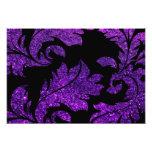 Floral Damask, Glitter Glow - Purple Black Photo Print