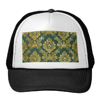 Floral Damask Gold Pattern Hats