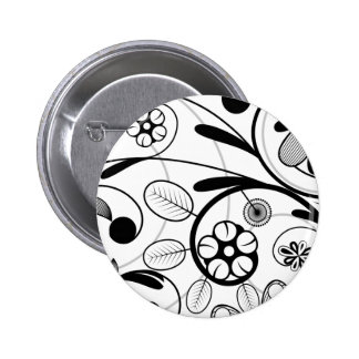 Floral Damask grey scale Button