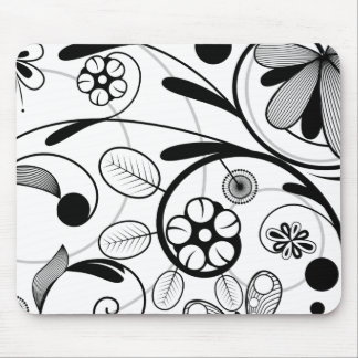 Floral Damask grey scale Mouse Pad