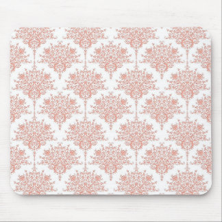 Floral Damask in Coral and White Mouse Pad