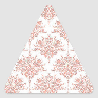 Floral Damask in Coral and White Triangle Sticker