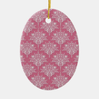 Floral Damask in Rose Pink and White Ceramic Ornament