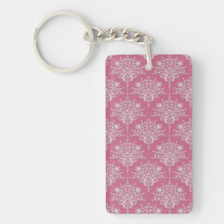 Floral Damask in Rose Pink and White Keychain