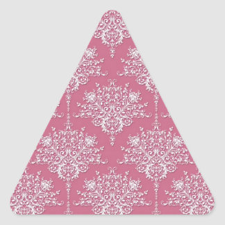 Floral Damask in Rose Pink and White Triangle Sticker