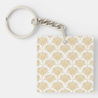 Floral Damask in Yellow Gold and White Keychain