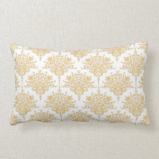 Floral Damask in Yellow Gold and White Lumbar Pillow