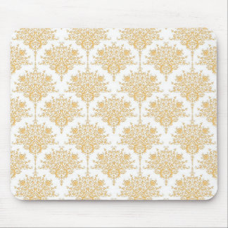 Floral Damask in Yellow Gold and White Mouse Pad