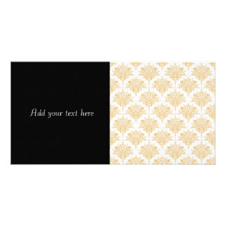 Floral Damask in Yellow Gold and White Picture Card
