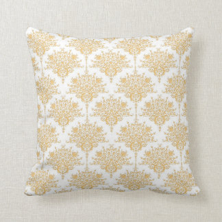 Floral Damask in Yellow Gold and White Pillows