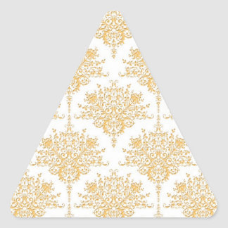 Floral Damask in Yellow Gold and White Triangle Sticker