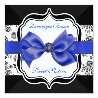 Floral Damask Invite with Blue Bow