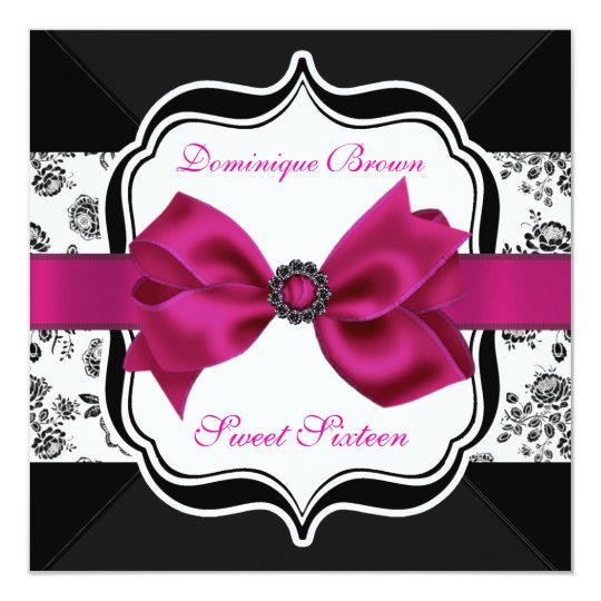 Floral Damask Invite with Pink Bow