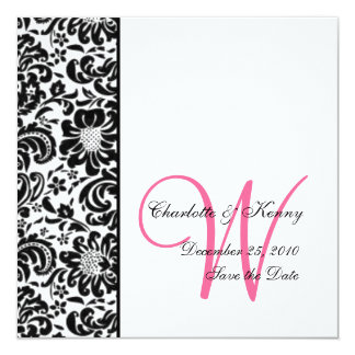 floral damask; live, love, laugh | save the date card