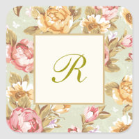 Floral Damask Monogram Square Sticker