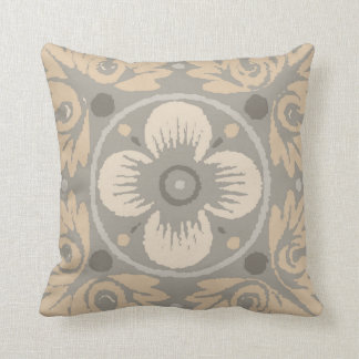 Floral Damask Pattern Pillow in Grey, Tan & Beige