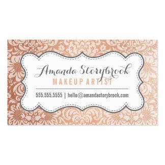 FLORAL DAMASK PATTERN trendy vintage rose gold Business Card