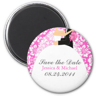Floral Damask Save the Date 2 Inch Round Magnet