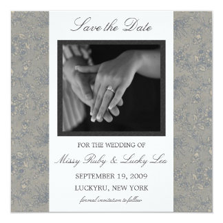 Floral Damask Save the Date Announcement